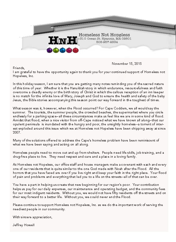 Holiday Letter  Homeless Not Hopeless Inc